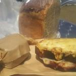 66378643 - はちみつ山食パン(ハーフ)、クロックムッシュ、豆乳とゴマのスコーン(クリームチーズ)