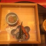 びわね - 穴子の八幡巻き ちまき 百合根菖蒲仕立て 手長海老 利休焼き茄子