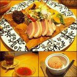 カフェやさしいちから。 - 鴨肉のハムとオレンジとサラダのガレット、冷製スープ、ピーチティー