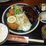 にっぽんの洋食 江戸一 - 2017/04/03 11:20訪問 カキフライとハンバーグの盛合せ