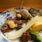 66384475 - 先附(エシャロット、つぶ貝、蛍烏賊の酢味噌添え、玉子焼き)