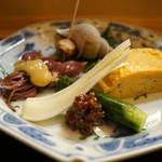 66384477 - 先附(エシャロット、つぶ貝、蛍烏賊の酢味噌添え、玉子焼き)