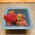 鮨國 - お通しの天然本マグロぶつ刺身
