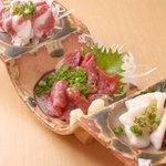 みこと - 料理写真:熊本菊陽町から直送!絶品馬刺し。3点盛りがお得です♪