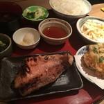 66431780 - 赤魚麹漬と桜エビかき揚げ定食(税込650円、月替わり)