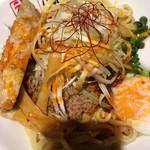東京アンダーグラウンドラーメン 頑者 - 麺量がMの特製坦々あえめん。UP過ぎてドーンとした量が伝わらずで残念('17/05/02)