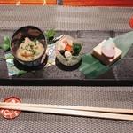 GINZA KOSO - 前菜三種盛り合わせ: