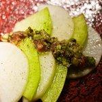 白金魚 - 大根の酒盗と蕗の薹和え物