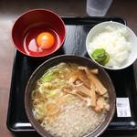 ラーメン風林火山 - 料理写真:朝食セット500円!ハーフ中華そば(こってり)+小鉢(生卵)+ライス