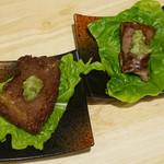 神戸ビーフ食品直営店 鉄板焼 銀座888 - 神戸牛うす焼き、極みカルビ