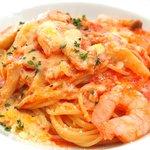 ESCRIBA - パスタセット 1000円 の海老とえりんぎのトマトソーススパゲッティ