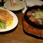 坐・和民 - サーモンカルパッチョとコロコロステーキ