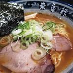 Ramenshokudourairakukenkyoudaiten - 手もみラーメン(ピリ辛)のアップ