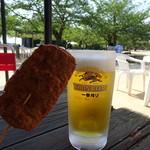 城山荘 - 生ビールとじゃこ天セット(750円⇒700円)