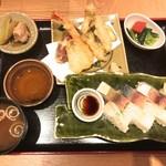 天ぷらと旬の肴 田丸 - 天ぷらの盛り合わせと鯖と鯛のバッテラ 1100円(税込)