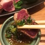 天ぷらと旬の肴 田丸 - 河内鴨のタタキ、ポン酢で