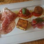 フルエンテ - 鮪のカルパッチョ、オムレツ、生ハム、パブリカ、茄子のコロッケの前菜
