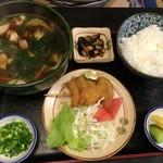 角三 - 「鶏南ばんうどん定食」(870円)