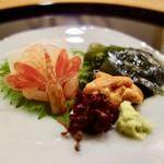 鮨處ワサビ - [2017/04]酒肴③ 刺身三点盛り(はりいか・えび・うに)