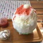 66526985 - いちごミルク氷+トッピング(白玉)