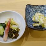 茂竹 - そら豆の和え物、お新香