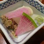 66552094 - お通し:牛タン肉味噌と野菜