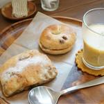 いぐパン - 料理写真:バナナとくるみのブレッド、くるみとレーズンのベーグル、スープ