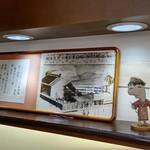 五勝手屋本舗 - 柱と大黒柱の説明、右側の人形は江差歴街ゆるキャラ「お路ちゃん(左)」「夢作(右)」
