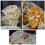 インドネパール料理 ヒマラヤキッチン - ◆パパド ◆野菜サラダ・・ドレッシングが甘辛くいいお味でした。 ◆ナンはモチモチ感があります。