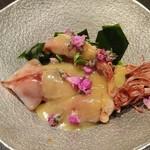 魚貝三昧 げん屋 - ホタルイカの酢味噌がけ