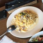 ベジテーブル - サルシッチャとコーンのクリームソースパスタ