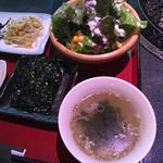 炭火焼肉 明翠園 - スープとサラダ