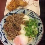 丸亀製麺 - 牛とろ玉うどん+とり天