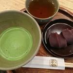 赤福茶屋 - 赤福盆(2個入)と抹茶