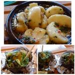 ソルエチェーロ - ◆上:マッシュルームのアヒージョ。大きめのマッシュルームで美味しい。 オイルもピリ辛でいいお味、残りはパンに付けても美味しい。 ◆下:サザエのエスカルゴバター焼き エスカルゴバターも美味しいですが、サザエも固くないので焼き加減が絶妙なのでしょうね。