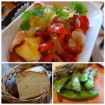ソルエチェーロ - ◆上:蛸とお野菜のトマトソース煮コミ。カボナータほどお味が濃くないので食べやすい。 ◆左下:パンはソフトな食感。アヒージョソースで頂くと美味しい。 ◆右下:スナップエンドウ。