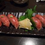 四季の蔵 - 黒毛和牛の炙り握り寿司(6貫)