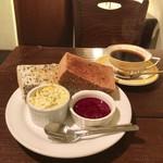 カフェ ド SaRa - 黒ごまトーストモーニング 400円(税込)