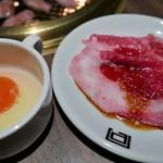 近江牛一頭買い 焼肉 囘 - 近江牛大判カルビ(すき焼き風)
