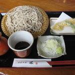 手打ちそば・梁 - 「もりそば ¥730」と、「海老天ぷら」!