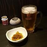 康家 - 「エビス生 グラス (450円)」で一杯