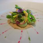 シグネチャー - 10.春野菜のタルトレット ペパーミント グリーンピースのスープ