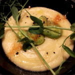 66657812 - 前菜 豆(ひよこ豆かレンズ豆か…失念)のペースト、空豆に桜海老のパウダー、豆苗