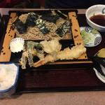 そば処 松涛庵 - 天ざる(おにぎり1ヶ付き)+大根おろし ¥1150+100
