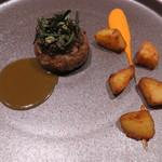 66682654 - 肉料理:仔羊のハンバーグ 黒ニンニクのピュレ ローズマリーとケッパー 仔羊から取った出汁のソース ローズマリーで燻製したジャガイモ パプリカとヨーグルトのソース3