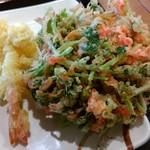 丸亀製麺 - 海老天、三つ葉と小エビのかき揚げ