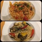 ルーチェ - 真鰯とういきょうのスパゲッティトマトソース       *鰯が沢山。       サザエとグリル野菜のスパゲッティペペロンチーノ       *サザエがやわらかかった。
