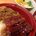 すき家 - うな牛丼並+サラダセット(1,030円)