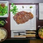 66701875 - 本日の熟成黒毛和牛ステーキ炭火焼きセット                       1/2 ポンド (225g)
