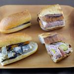 66705284 - 左から、味噌漬けチキンと根菜のピクルスゴマソース パテドカンパーニュ